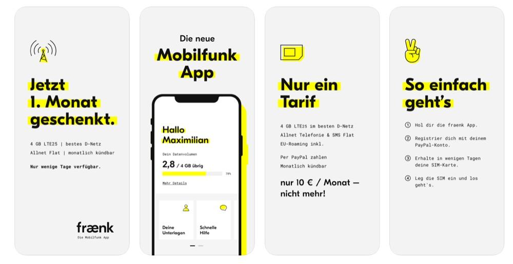 fraenk flat Handyvertrag monatlich kündbar