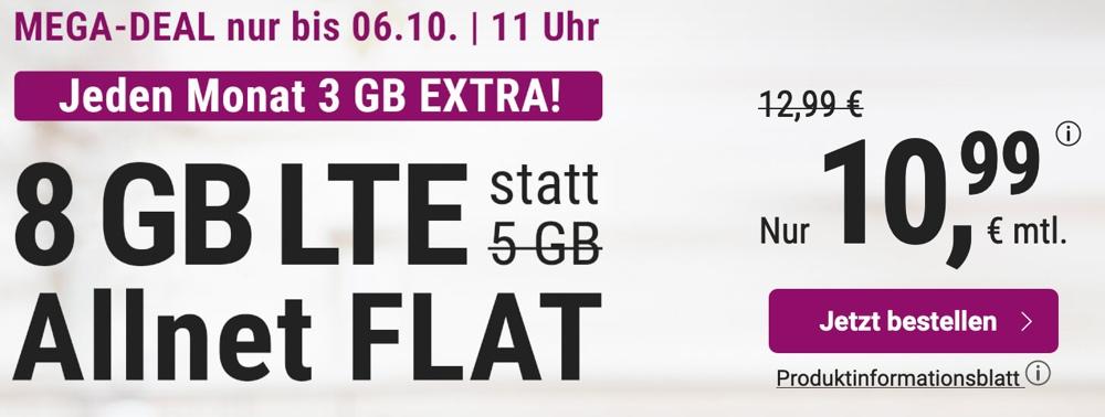 8 GB LTE Handytarif monatlich kuendbar