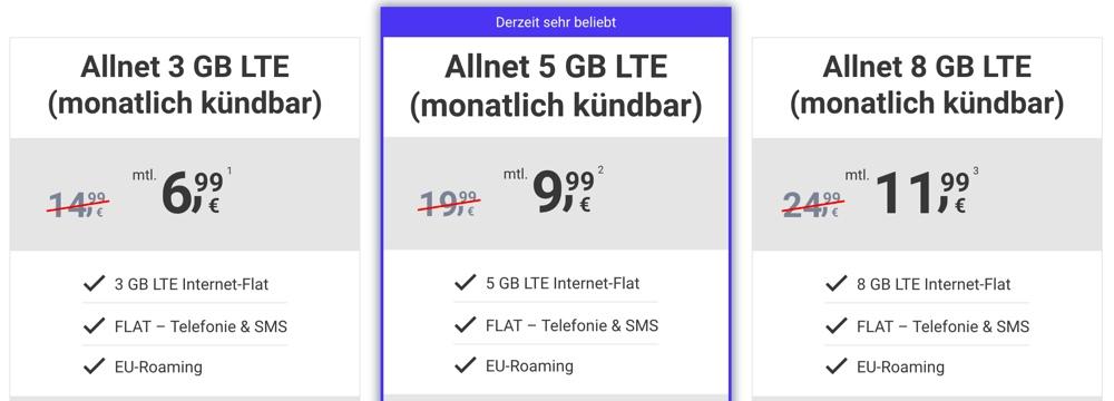 5 GB LTE unter 10 Euro monatlich kündbar